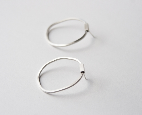 Circle & Square sterling silver earrings