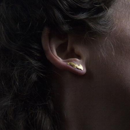 Five leaves earrings gold