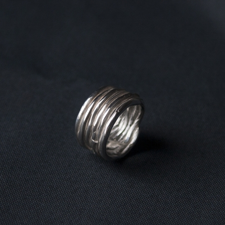 Twig sterling silver ring