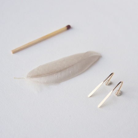 Feather earrings 14K Gold (s)