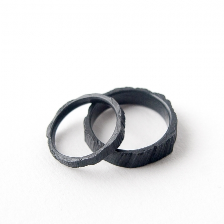 oxidised sterling silver wedding bands