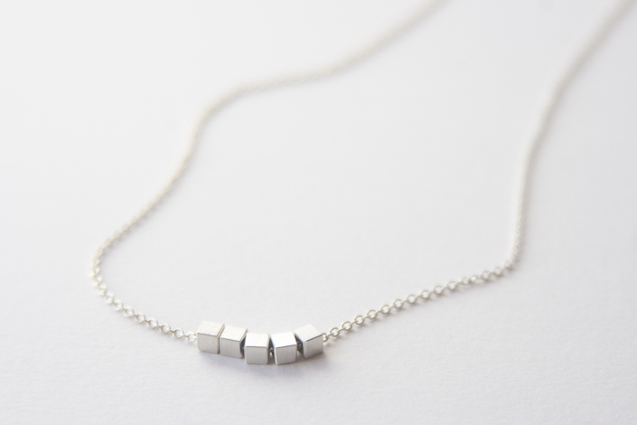 sterling silver cubes necklace
