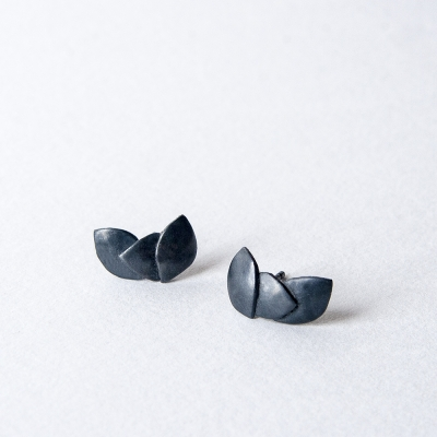 Three Leaves oxidised silver earrings