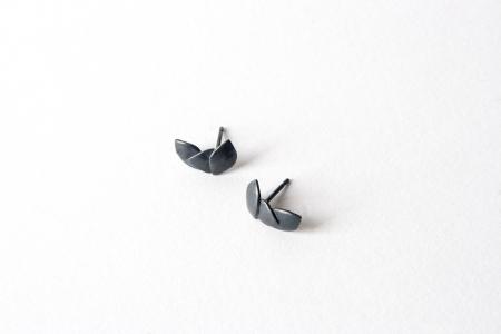 Three Leaves oxidised silver earrings
