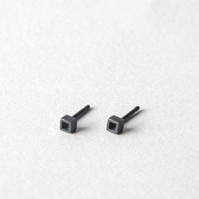 Tiny Cube Oxidised Silver Earrings